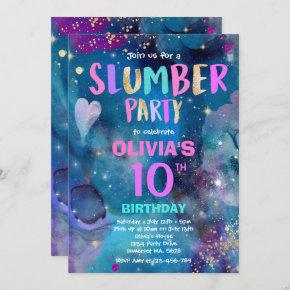 Galaxy Birthday Party Tween Galaxy Slumber Party Invitation