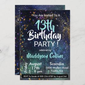 Galaxy Stars Birthday Party Invitation