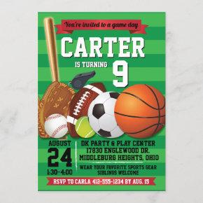 Game Day Sports Team Birthday Party Invitation