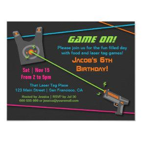 Game On Fun Laser Tag Birthday Party Invitation