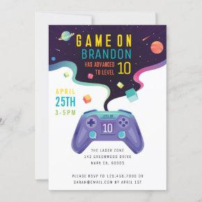 Game On Level Up Fun Video Game Birthday Invitation