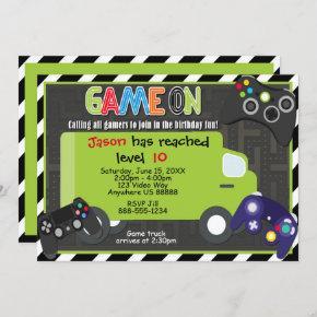 Game Truck Video Game Birthday Invitation