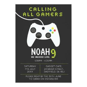 Gaming themed birthday party Invitations