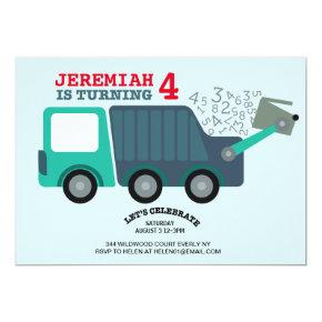 Garbage Truck Birthday Party Invitation
