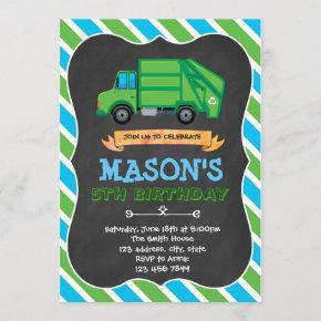 Garbage truck party birthday invitation