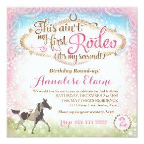 GC This Ain't My First Rodeo 2nd Birthday Invitation