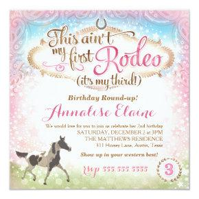 GC This Ain't My First Rodeo 3rd Birthday Invitations