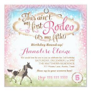 GC This Ain't My First Rodeo 5th Birthday Invitation