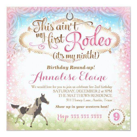 GC This Aint My First Rodeo 9th Birthday Invitations