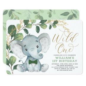 Gentleman Elephant Wild One Greenery 1st Birthday Invitation