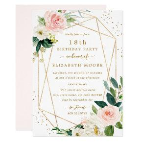 Geometric Blush Gold Floral 18th Birthday Invite
