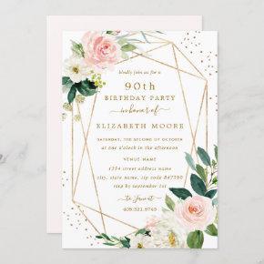 Geometric Blush Gold Floral 90th Birthday Invite
