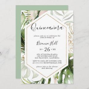 Geometric Gold Tropical Greenery Quinceañera Invitation