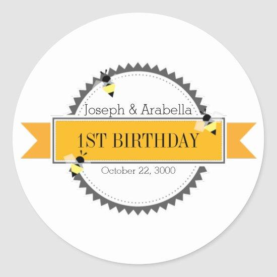 geometric honey bee BIRTHDAY PARTY favor Classic Round Sticker