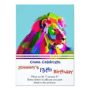 Geometric lion color invitation