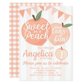 Georgia Peach Birthday Party Invitation Invite