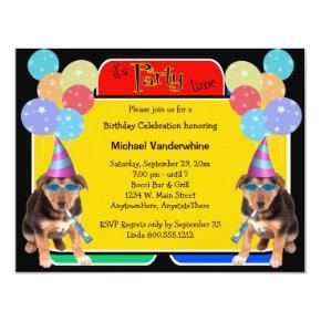German Shepherd Puppy Birthday Barker Invitation