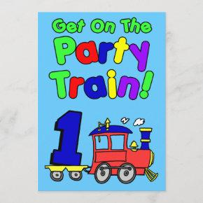 Get On The Party Train 1 Year Old Invitation