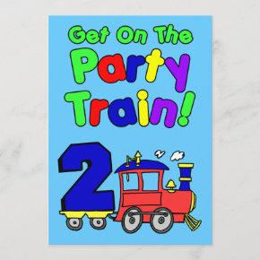 Get On The Party Train 2 Year Old Invitation