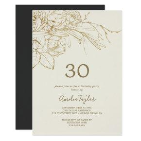 Gilded Floral | Cream and Gold 30th Birthday Invitation