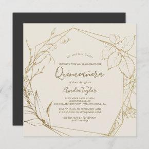 Gilded Floral | Cream and Gold Quinceañera Invitation