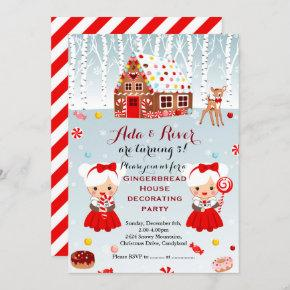 Gingerbread House Birthday Party twins Invitation
