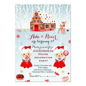 Gingerbread House Birthday Party twins Invitations