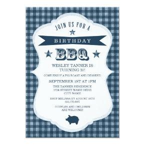 Gingham Barbecue Birthday Party Invitations