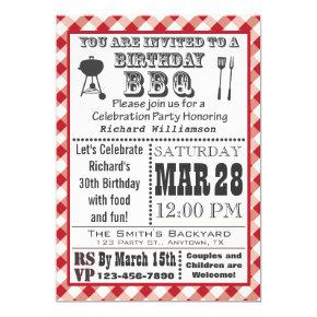 Gingham Birthday Barbecue Party Invitations
