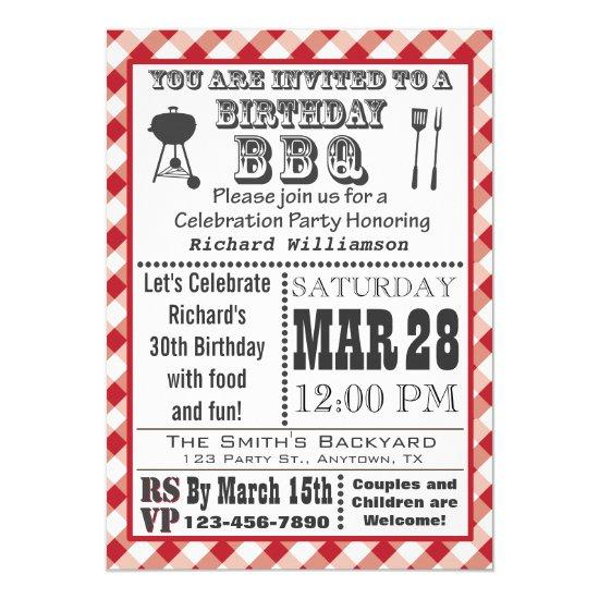 gingham birthday barbecue party invitations candied clouds