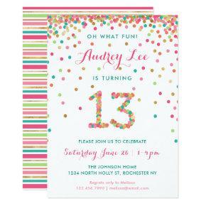 Girl 13th Birthday Invitation Thirteenth