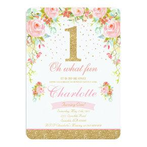 Girl 1st Birthday Invitations Floral Pink Gold