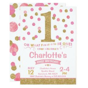 Girl 1st Birthday Invitations Pink & Gold Confetti