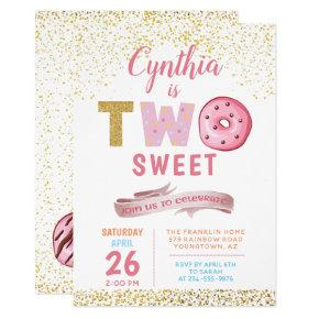 Girl 2nd Birthday Invitations Two Sweet Donut Party
