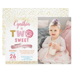 Girl 2nd Birthday Invitations Two Sweet Donut Photo