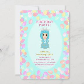Girl 3rd Birthday Balloons Invitation