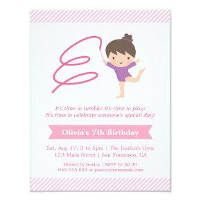 Girl and Ribbon Gymnastics Kids Birthday Party Invitation