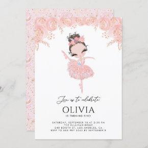 Girl Ballerina in White Dress Floral Birthday Invitation