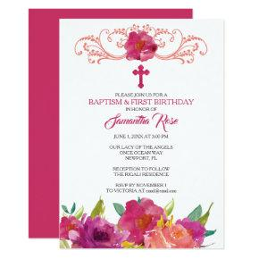 First Baptism Birthday Invitations Candied Clouds