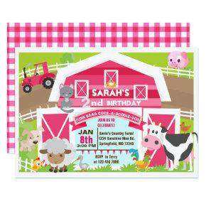 Girl barnyard Invitations - Farm Birthday