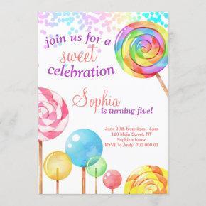 Girl Birthday Invitation Candy Sweet Celebration