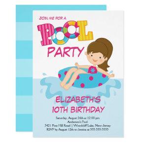 Girl Birthday Summer Pool Party Invitation