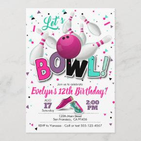 Girl Bowling Party Invitation for Bowling Party