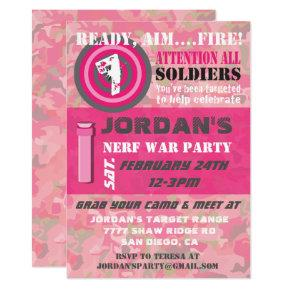 Girl Camo War Birthday Party Invitations