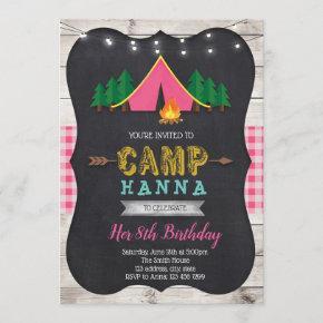 Girl camp birthday invitation