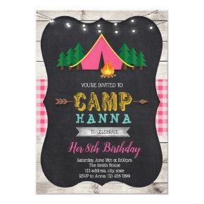 Girl camp birthday invitation
