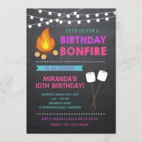 Girl Camp Bonfire Birthday Invitation