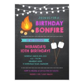 Girl Camp Bonfire Birthday Invitation