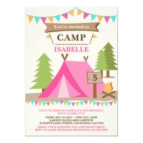 Girl Camping Tent Party Birthday Invitations