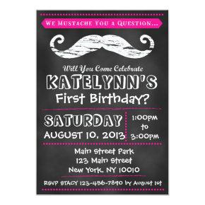 Girl Chalkboard Mustache Birthday Invitation